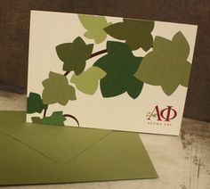 Image of Alpha Phi Ivy Note Cards Sorority Canvas, Sorority Paddles, Sorority Girls, Ivy Leaf, Alpha Phi, How To Show Love, Greek Life, Theta, Note Cards