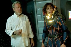 Director Ridley Scott & Noomi Rapace behind the scenes on #Prometheus (2012)