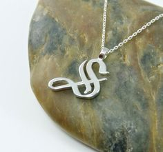Initial Single Letter Pendant Necklace - Old English Font - Sterling Silver - Letter 'S'