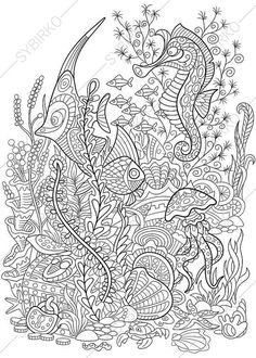 Zentangle stylized cartoon fish, seahorse, jellyfish, crab, shellfish and starfish isolated on white background. Hand drawn sketch for adult antistress coloring page. Ocean Coloring Pages, Printable Adult Coloring Pages, Mandala Coloring Pages, Animal Coloring Pages, Coloring Pages To Print, Coloring Book Pages, Coloring Sheets, Cartoon Fish, Bunt