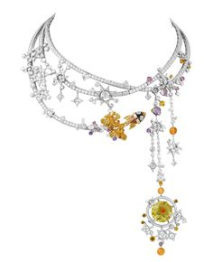 Brooches Jewels : Van Cleef Arpels Tampa Necklace Out of this World Jewelry in the Space Age Van Cleef Arpels, Van Cleef And Arpels Jewelry, Space Jewelry, High Jewelry, Heart Jewelry, Crystal Jewelry, Arte Viking, Saphir Rose, Jewellery Exhibition