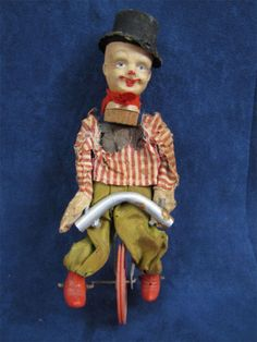 Vintage Celluloid Clown On Bicycle Toy Marked Japan Clowning Around, Clowns, Disney Characters, Fictional Characters, Wheels, Bicycle, Japan, Disney Princess, Toys