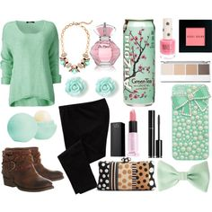 """teal blossom"" by victoria-publicover on Polyvore"