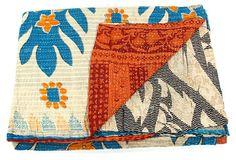 Hand-Stitched Kantha Throw, Ebun