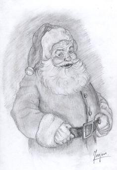 sketches of santa - Google Search Pencil Art Drawings, Easy Drawings, Drawing Sketches, Pencil Drawing Tutorials, Sketching, Xmas Drawing, Christmas Drawing, Santa Paintings, Christmas Paintings