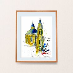 St. Nicolas, one of the finest examples of High Baroque architecture in Central Europe, this massive imposing dome and the Catholic church have continued to look over and protect the Lesser Town for centuries.  Thank you for checking out. This is an archival print from my original pen, ink and watercolor drawing and painting, I did it when I was in Prague last year. I was delighted with the architecture of this European city. ♛ ♛ ♛ FRAME IS NOT INCLUDED ♛ ♛ ♛ You can choose a size: 5x7 -$8…