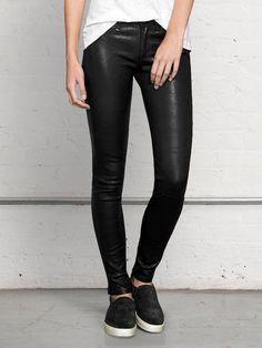 Leather Skinny Jeans via @WhoWhatWear