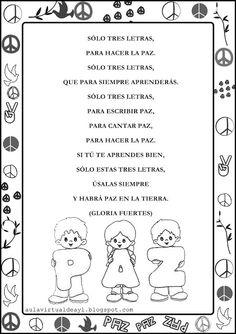 Aula virtual de audición y lenguaje: Poemas de la PAZ Peace Crafts, Ap Spanish, Dual Language, Word Work, Phonics, Religion, Classroom, Teacher, Writing