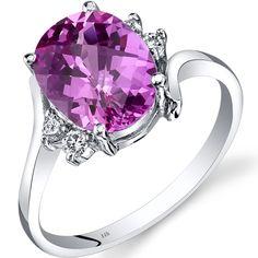 Peora.com - 14K White Gold Created Pink Sapphire Diamond Bypass Ring 3.50 Carat R62322, $259.99 (http://www.peora.com/14k-white-gold-created-pink-sapphire-diamond-bypass-ring-3-50-carat-r62322)