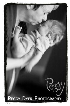 Newborn Photography Ideas - Grandma kissing baby