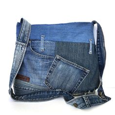 Crossbody purse recycled denim bag upcycled jean by Sisoibags