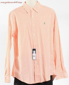 Ralph Lauren Polo OUTLET PRICE Men's DRESS SHIRT ORANGE SZ L