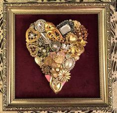 Handmade upcycled vintage jewelry heart framed artwork