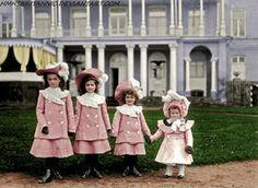 Olga Nikolaievna Romanva, Tatiana Nikolaievna Romanova, Maria Nikolaievna Romanova and Anastasia Nikolaievna Romanova in 1902