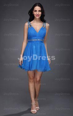Crystal A-line Shoulder Straps Short Dress