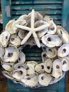 Oyster Shell wreath by TRAVELERSRESTFARM on Etsy