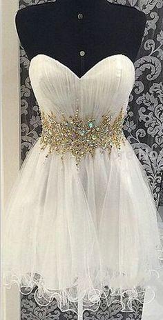 Homecoming Dresses,Rhinestone Homecoming Dresses,White Homecoming Dresses,Organza Homecoming Dresses,Sweetheart