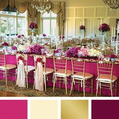 Pink, Ivory, Gold and Plum Color Palette