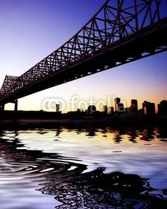 Historical Landmark Crescent City Connection Bridge In New Orleans, LA