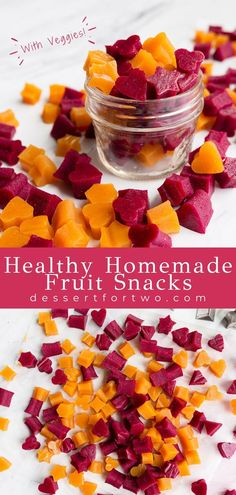 Healthy Homemade Fruit Snacks (with veggies!) | Dessert for Two | I hope you and your little loves these healthy homemade fruit snacks with veggies! #kids #toddler #fruitsnacks Fresh Fruit Desserts, Fruit Snacks, Fruit Recipes, Healthy Desserts, Baby Food Recipes, Healthy Foods, Baking Recipes, Vegan Recipes, Dessert Recipes