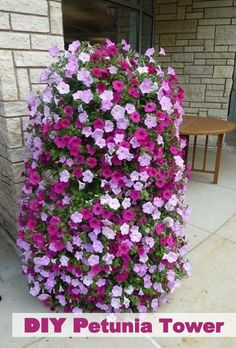 How to Make a Flower Tower -- Basically, it's a ring of galvanized fencing lined with landscape fabric, then filled with potting soil. The flowers were planted through slits in the landscape fabric. This is a pretty easy do-it-yourself project! Container Plants, Container Gardening, Gardening Tips, Succulent Containers, Container Flowers, Vegetable Gardening, Organic Gardening, Lawn And Garden, Garden Art