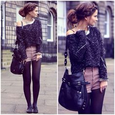 sweater and shorts, love the look, no clue when to wear it. Shorts With Tights, Sweater And Shorts, Black Tights, Sweater Tights, Cropped Sweater, Leggings Style, Big Sweater, Black Jumper, Comfy Sweater
