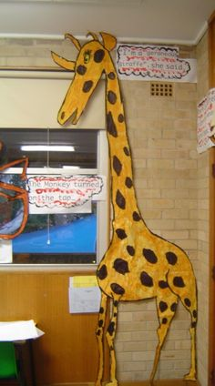"""I love this extra large giraffe that this teacher created for Roald Dahl's book """"The Giraffe and the Pelly and Me."""""""