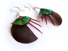 Circular Feather Earrings in Brown and Lime Green by Still Tree on #Etsy