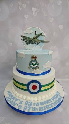 great RAF cake for Harry's 93rd and Joan's 97th birthdays