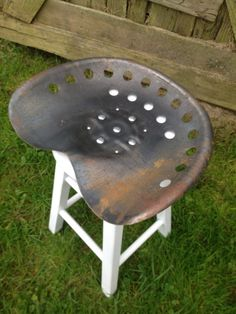 Metal Tractor Seat Stool by ZassysTreasures on Etsy, $65.00