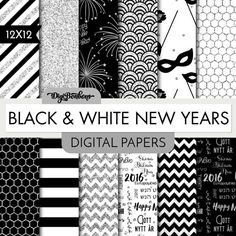 New Years Seamless Patterns - Scrapbook Digital Papers - 12 x 12- Silver Glitter Digital Papers- Chevron, Wood, and more of our Best Sellers