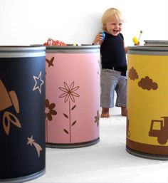 cardboard recycling bins to store toys Cardboard Recycling Bins, Barrel Projects, Recycling Center, Nursery Accessories, Eco Friendly Toys, Playroom Organization, Kids Room Design, Diy Cleaning Products, Storage Bins