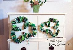 Clover House: An Easy Fun Rag Shamrock Decoration Strong Hand, Fabric Wreath, Lucky To Have You, Wire Hangers, Fabric Scraps, Scrap Fabric, Diy Gifts, Fun Crafts, Christmas Wreaths