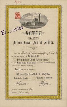 HWPH AG - Historische Wertpapiere - Actien-Zucker-Fabrik Lehrte / Lehrte, 01.06.1884, Gründeraktie über 300 Mark