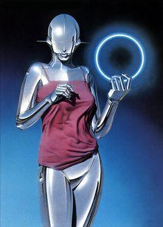 femburton: 'Sexy Robot' by Hajime Sorayama, 1983 - tinylotusagain Robot Painting, Art Cyberpunk, Dibujos Pin Up, Cyborg Girl, New Retro Wave, Arte Robot, Drawn Art, Robot Girl, Futuristic Art