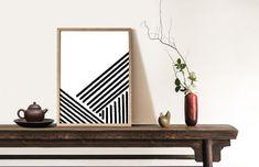 Abstract Geometric Lines Black and White Brush Stroke Digital Moon Print, Geometric Lines, Etsy App, Simple Art, Brush Strokes, Boho Decor, Diy Art, Original Art, Pure Products