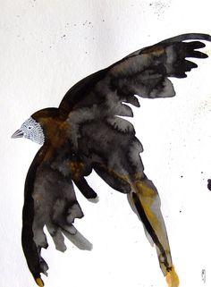 Oiseau Encre Oiseau Dessin Oiseau Peinture Minimalisme Art Oiseau Art Contemporain : Dessins par celine-artpassion