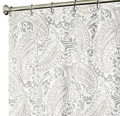 Extra Long Shower Curtain Paisley Fabric Curtains 96 Inch Gray Want To Know