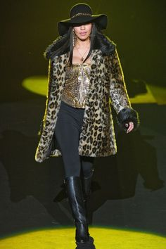 #betsey #johnsons #overcoat #fur #animalprint #hat #runway #fashion #style #leather #boots #black #sequins #glamour #designer #trend