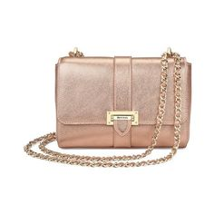 Aspinal of London Small Lottie Bag In Rose Gold Metallic (2.455 BRL) ❤ liked on Polyvore featuring bags, handbags, shoulder bags, rose gold metallic, over the shoulder bags, leather crossbody purse, leather shoulder bag, crossbody handbags and leather cross body purse