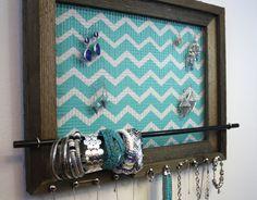 Chevron Jewelry Organizer 19 1/2 x 15 1/2  Rustic by hudsonlace