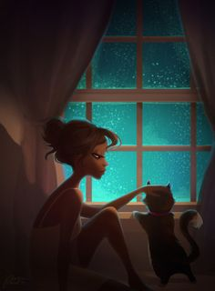 Girl and Cat, Stars / Ragazza e Gatto, Stelle - Illustration/Illustrazione by Petra Vargas