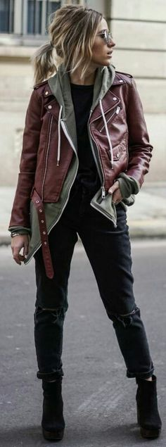3100f43382 Leather jacket Badass Outfit, Badass Style, Burgandy Leather Jacket, Black Leather  Jackets,