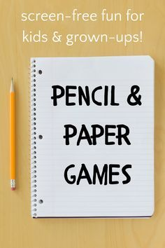 Paper Games For Kids, Pen And Paper Games, Summer Activities For Kids, Family Fun Games, Family Game Night, Games To Play, Team Games For Kids, Best Pens, Pencil And Paper