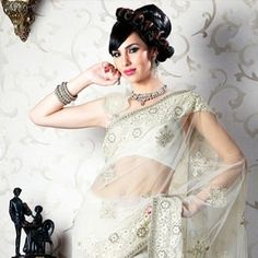 Ethnic Ivory Net Embroidered Saree