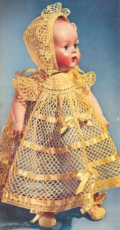 """Vintage Crochet PATTERN to make Baby Doll Dress Hat Shoes 15"""" inch ..."""