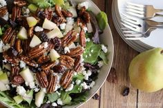 Salad with Goat Cheese, Pears, and Candied Pecans   - Delish.com