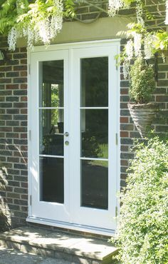 French doors finished in Off-White. Manufactured … French doors finished in Off-White. Manufactured in Engineered European Redwood. Timber Front Door, Double Front Doors, Double Patio Doors, Upvc French Doors, French Doors Patio, Farmhouse Patio Doors, External French Doors, French Door Curtains, Build Your House