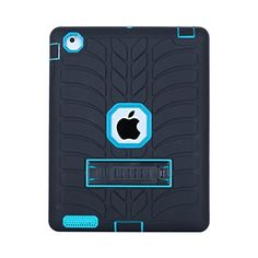 iPad 2 / 3 / 4 Case, Beimu Kickstand Feature [Tire Series] Rugged Shock Absorbent Three Layer Hard Rubber Protective Case Cover with Stylus for Apple iPad 2nd / 3rd / 4th Generation * Learn more by visiting the image link.