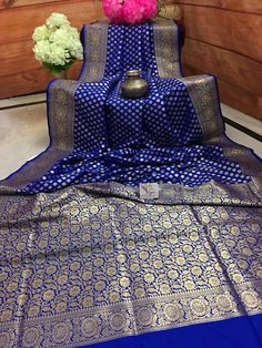 Discover thousands of images about Dark Blue Color Chanderi Banarasi Saree Wedding Silk Saree, Bridal Wedding Dresses, Banarsi Saree, Georgette Sarees, Katan Saree, Crepe Silk Sarees, Dark Blue Color, Pink Color, Beautiful Dresses For Women
